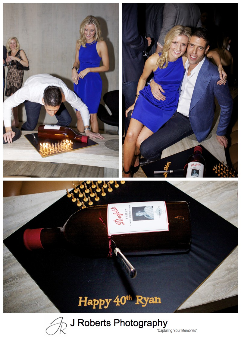 40th birthday cake designed as bottle of Penfolds grange - party photography sydney