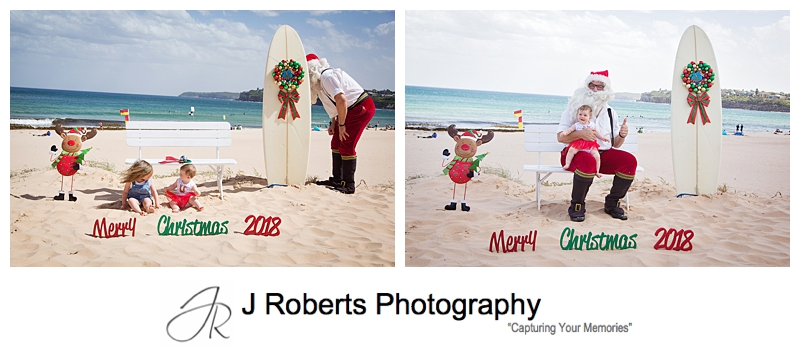 Aussie Santa Photos at Long Reef Beach Hot and Windy
