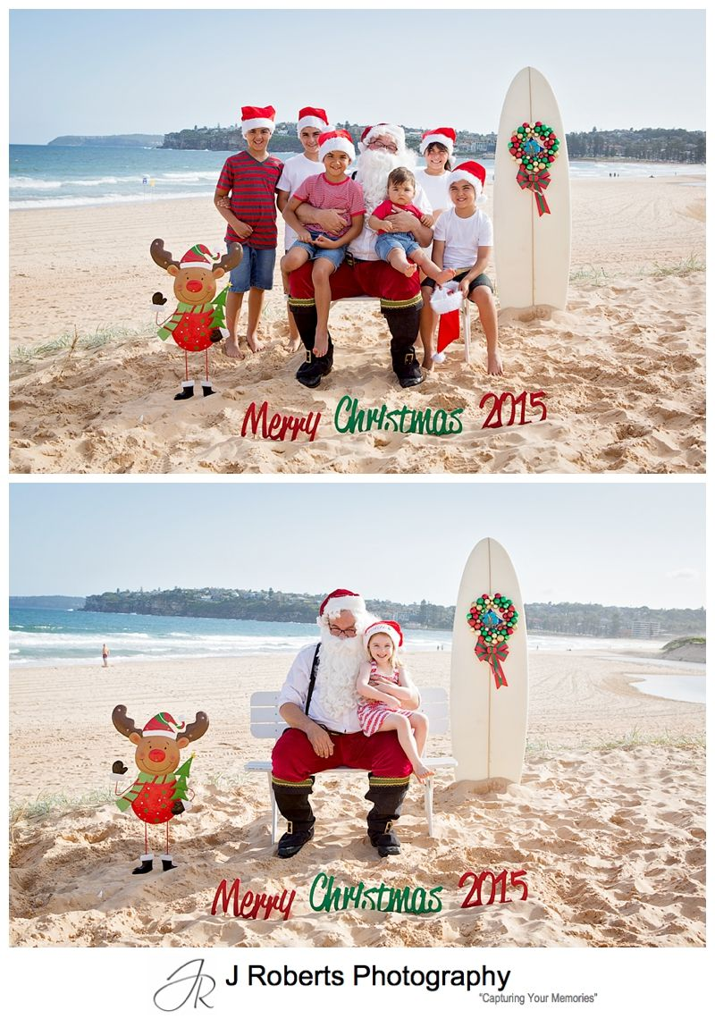 Aussie Santa Photos at Long Reef Beach Rain postponed day to fabulous sunny afternoon just before Christma