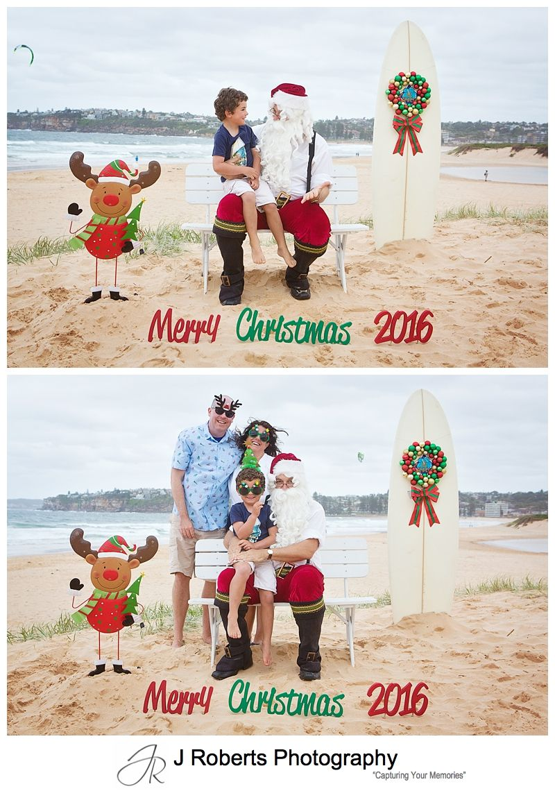 Aussie Santa Photos at Long Reef Beach Sydney December 2016 Cold and Windy but still smiling
