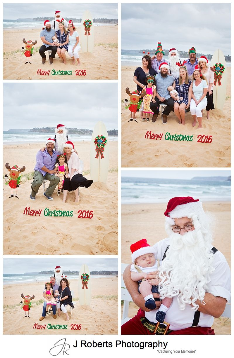 Aussie Santa Photos on the beach on the Northern Beaches Sydney