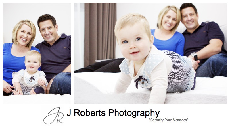 Family portrait with parents and 9 month old girl - family portrait photography sydney