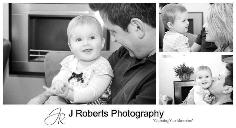 B&W portraits of little girl with parents - family portrait photography sydney