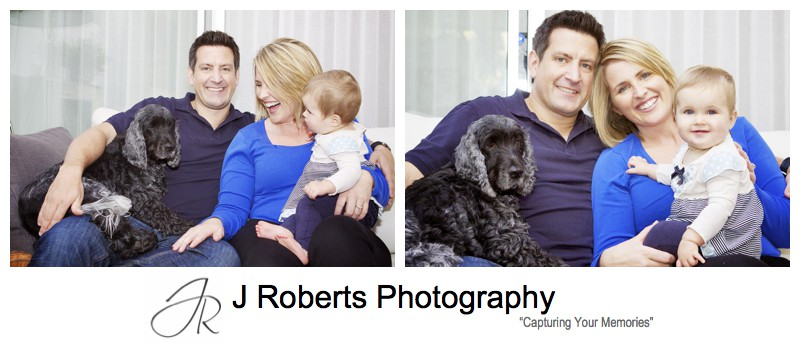 Family laughing with baby and family dog - family portrait photography sydney