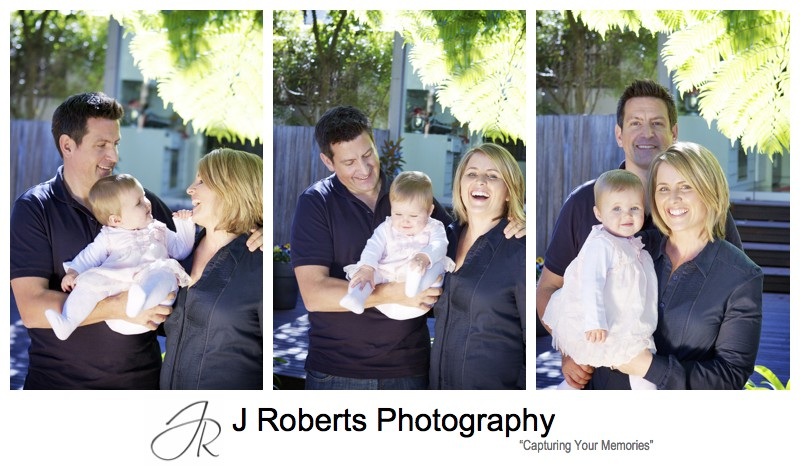 Portrait of parents with little girl in family backyard balmain - family portrait photography sydney