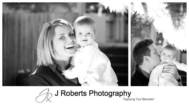 B&W portraits of baby girl with mother and father - family portrait photography sydney