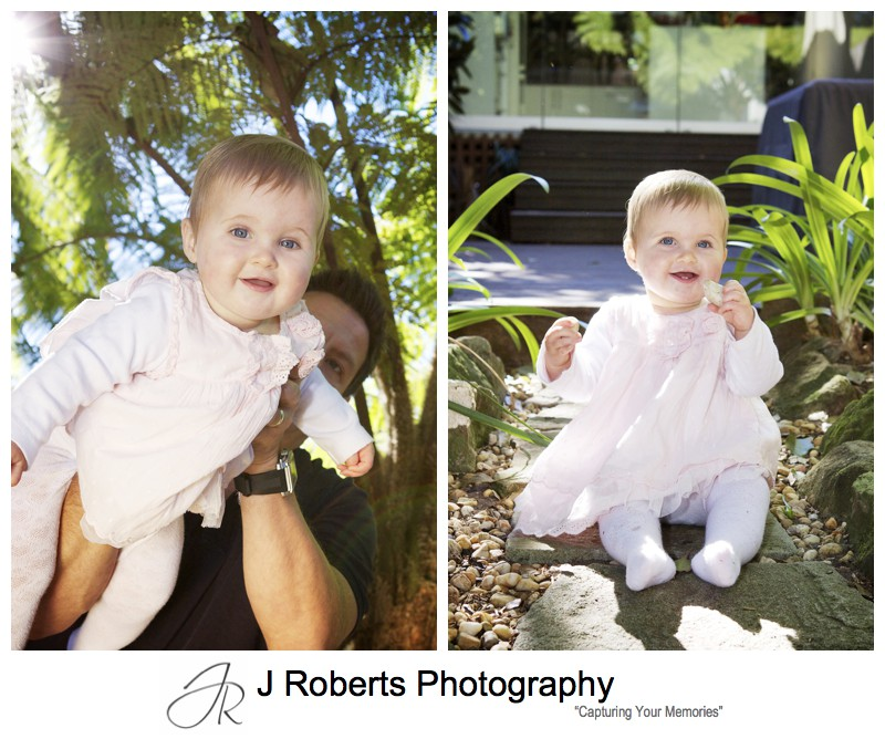Little girl in pink dress in garden - family portrait photography sydney