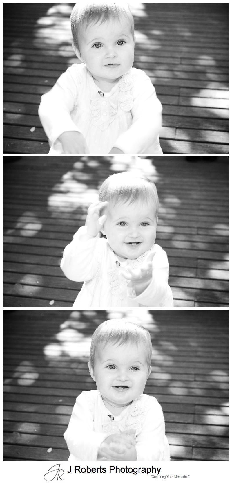 Little girl learning to clap - family portrait photography sydney