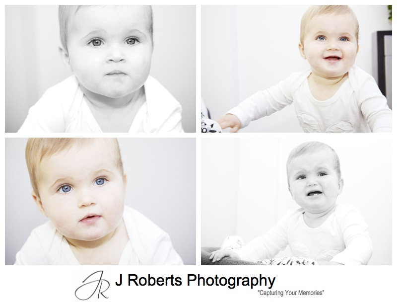Portraits of a 9 month old girl in white jumpsuit - family portrait photography sydney