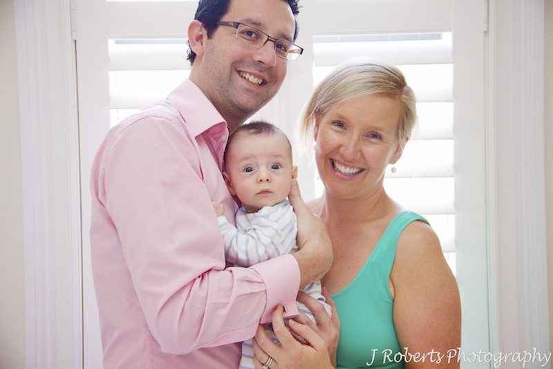 Family of 3 with baby boy - baby portrait photography sydney