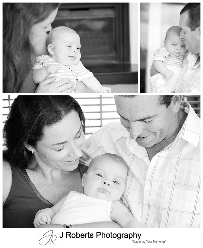 Baby boy with this parents portraits in B&W - sydney baby portrait photography