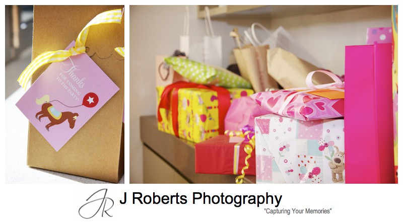 Presents and party favours at 1st birthday party - party photography sydney