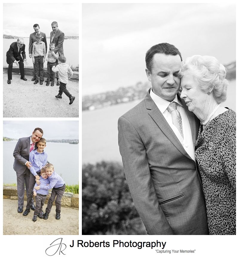 Groom with his mother and nephews - sydney wedding photography