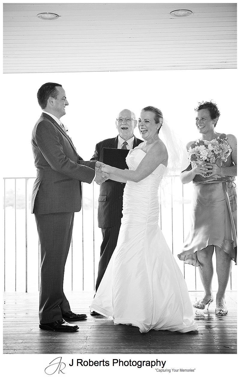 laughing couple during wedding ceremony - sydney wedding photography
