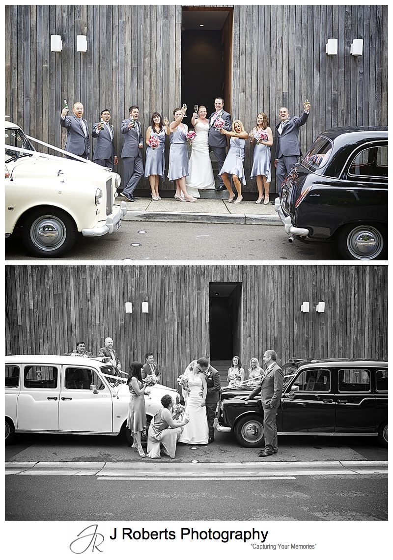 Bridal party with London Cab bridal cars at sergeants' mess mosman - sydney wedding photography