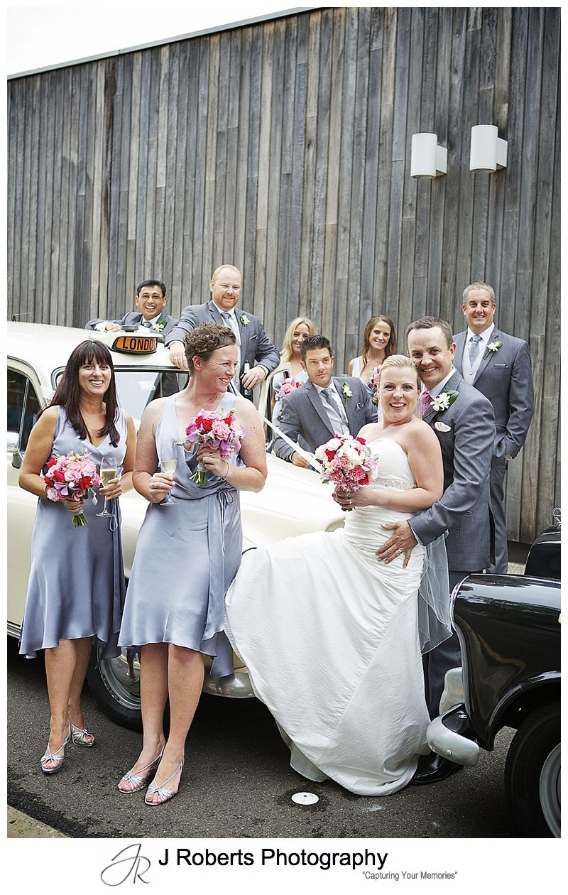 Bridal party with london cab bridal cars - sydney wedding photography