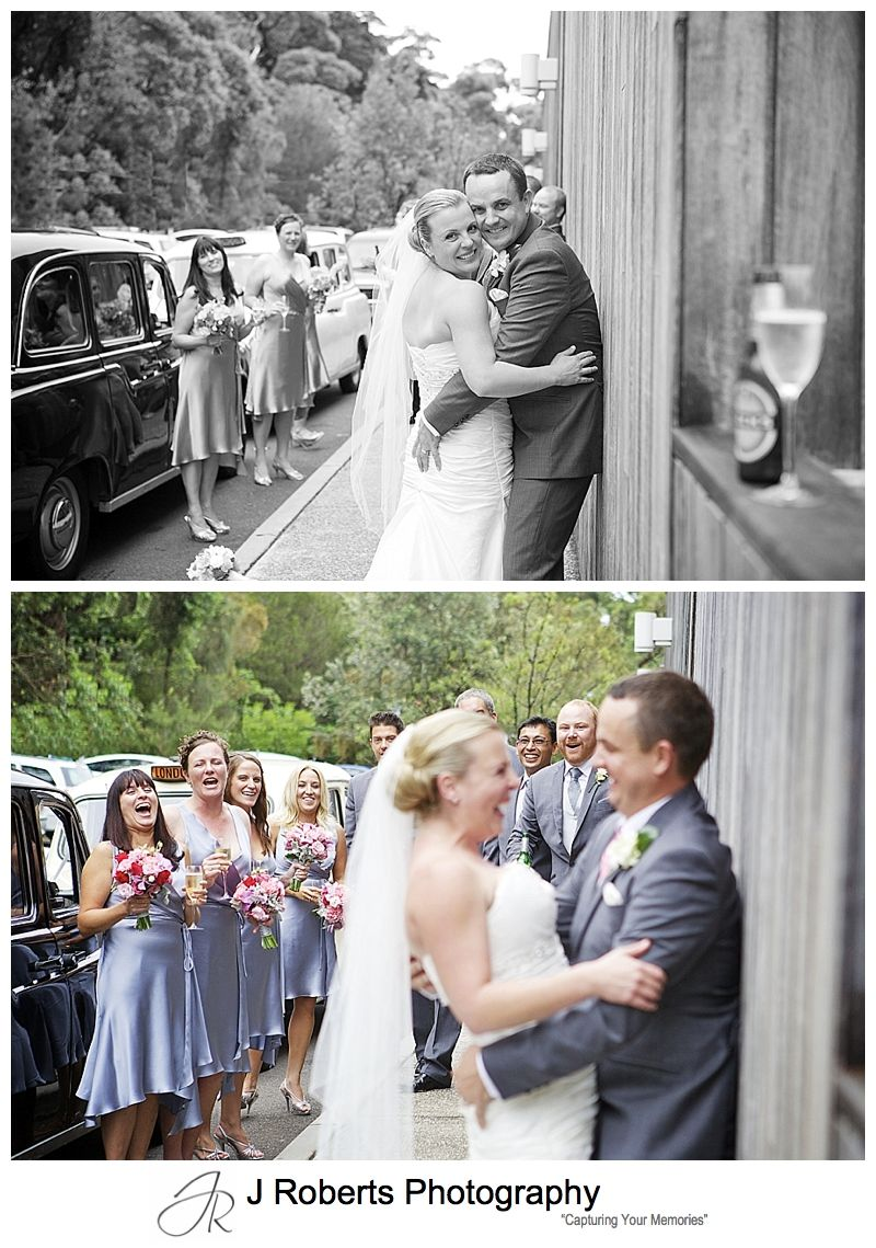 couple with bridal party outside sergeants' mess mosman - sydney wedding photography