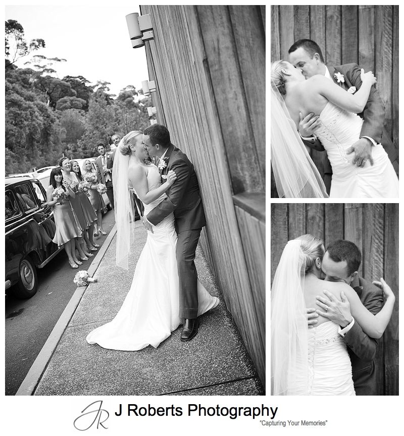 B&W portraits of couple embrassing - sydney wedding photography