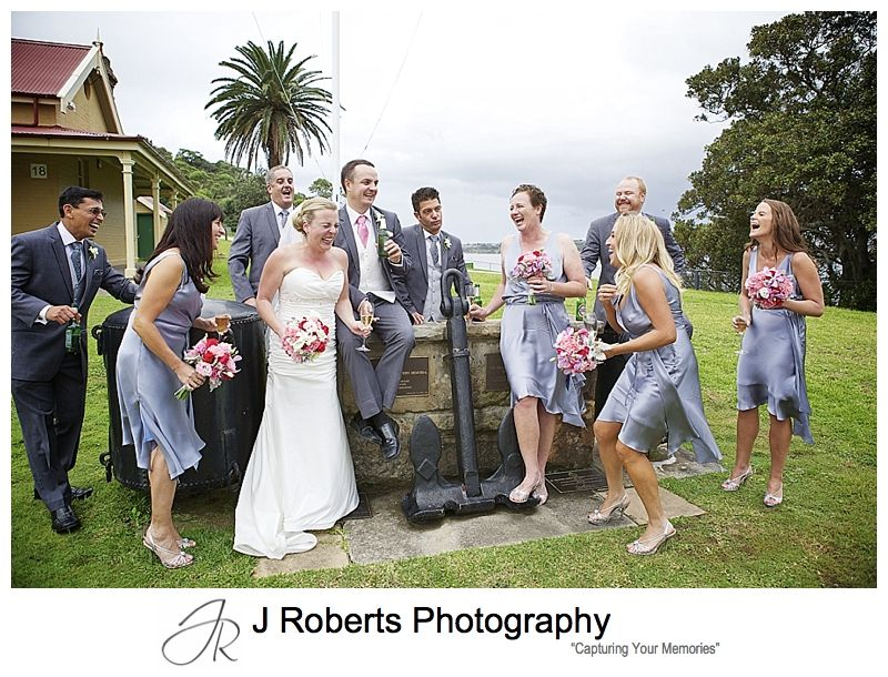 hilarious bridal party photograph - chowder bay mosman