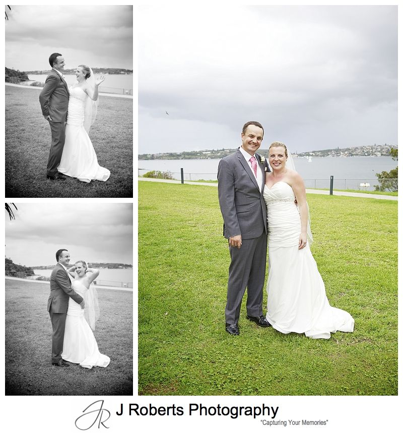 Fun bridal couple portraits at chowder bay mosman - sydney wedding photography