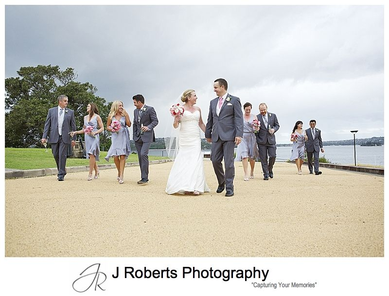 Bridal party walking around chowder bay mosman - sydney wedding photography