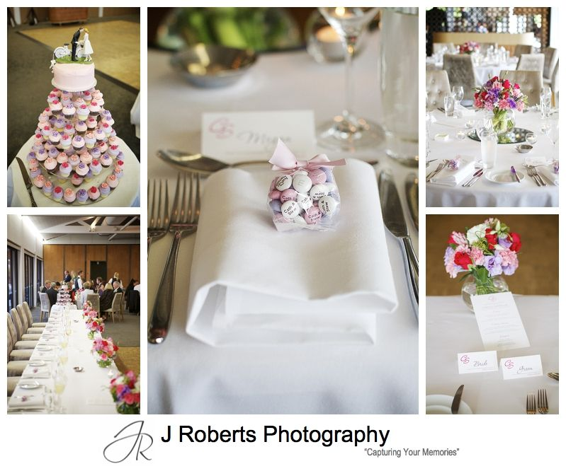 pink and purple table details for a wedding reception at sergeants' mess mosman - sydney wedding photography