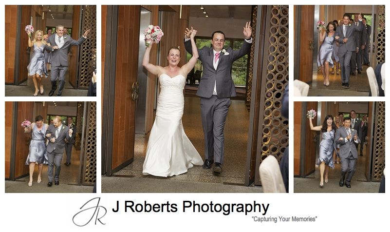 Bridal parties dancing entrance to sergeants mess mosman - sydney wedding photography