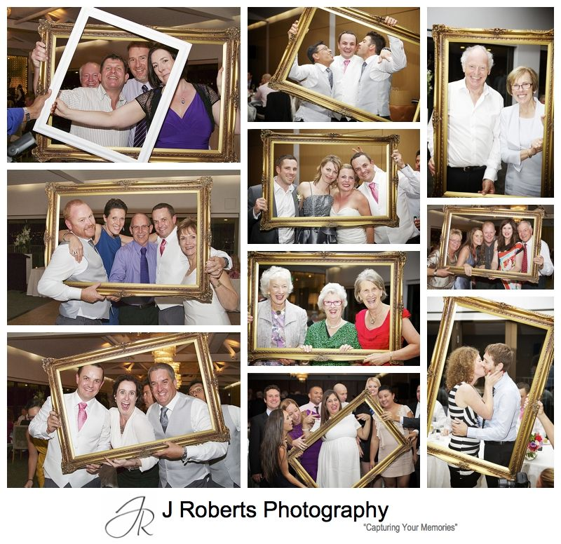 picture frames candid guest photos at wedding reception- sydney wedding photography