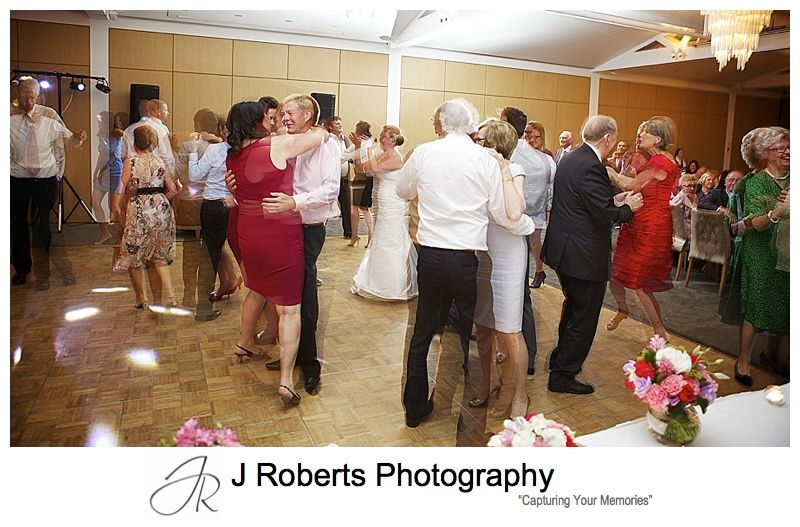 full dancefloor at wedding reception at sergeants' mess chowder bay - sydney wedding photography