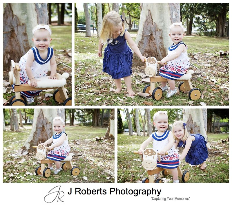 baby girl in blue and white for portraits - sydney family portrait photography