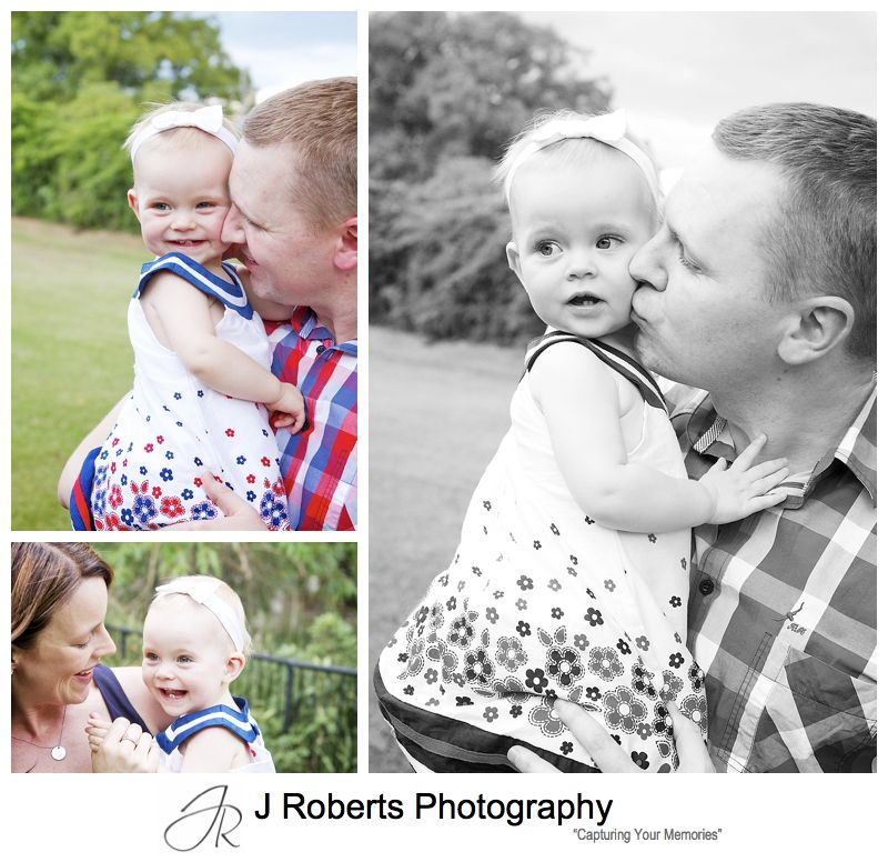 Baby girl with her parents - sydney family portrait photography