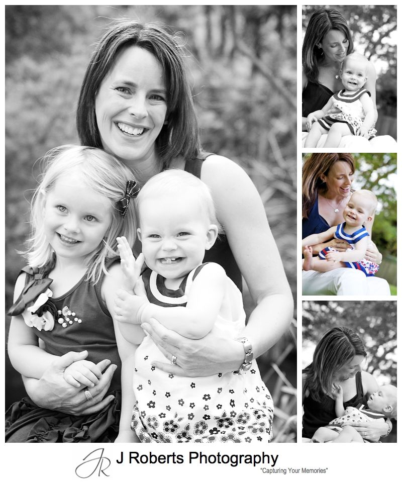 Portraits of a mother with her two little girls - sydney family portrait photography