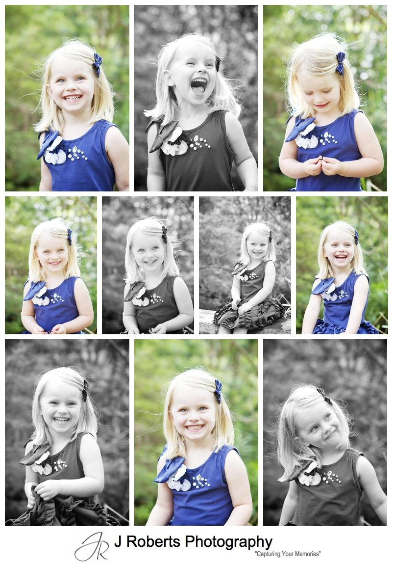 Collage of portraits of a little girl laughing - sydney family portrait photography