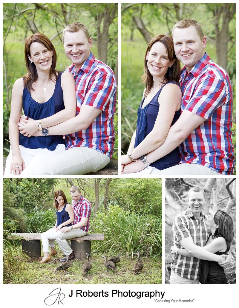 Couple portraits in the park with ducks - sydney family portrait photography