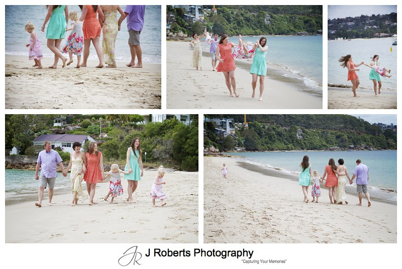 Family with 4 girls walking along the beach - sydney family portrait photography