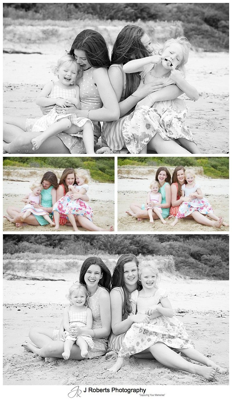 Family of girls laughing at the beach - sydney family portrait photography