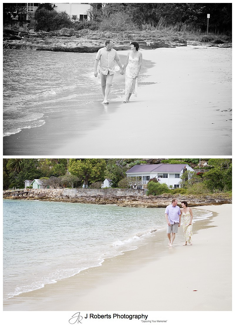A couple walking along the beach - sydney family portrait photography
