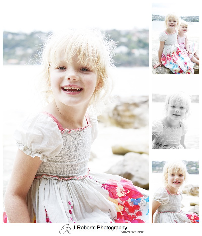 Portraits of a little girl at the beach - sydney family portrait photography