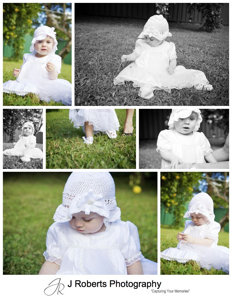 Baby girl dressed in christening rob for her baptism - sydney baptism photography
