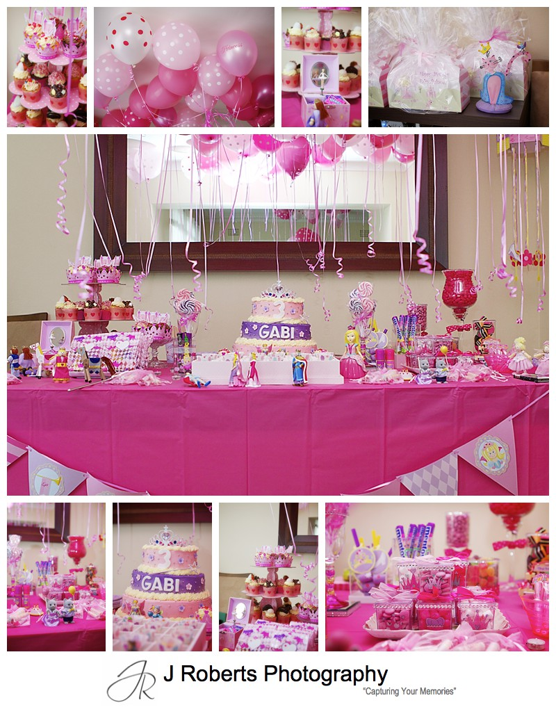 Table and decorations for a girls princess fairy party - sydney party photography