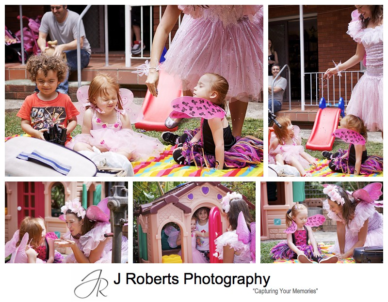 Fairy spells with pixie dust at childs birthday party - sydney party photography