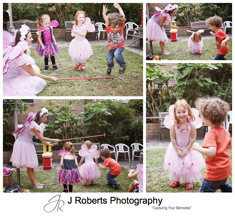 Playing limbo at childs birthday party - sydney party photography