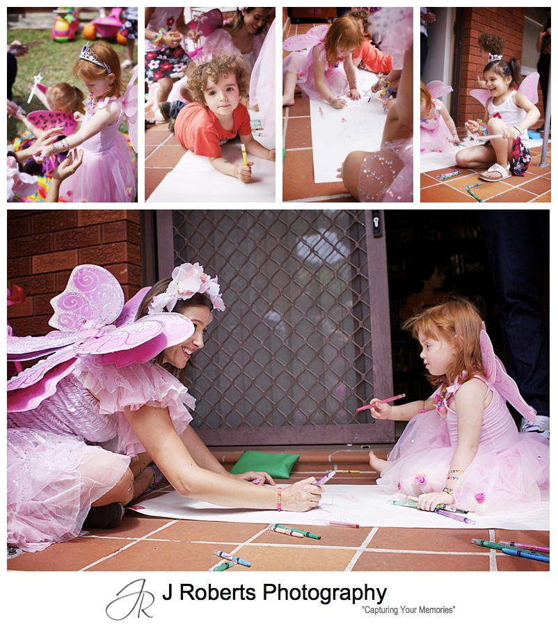 Fairy star drawing at little girls birthday party - sydney party photography