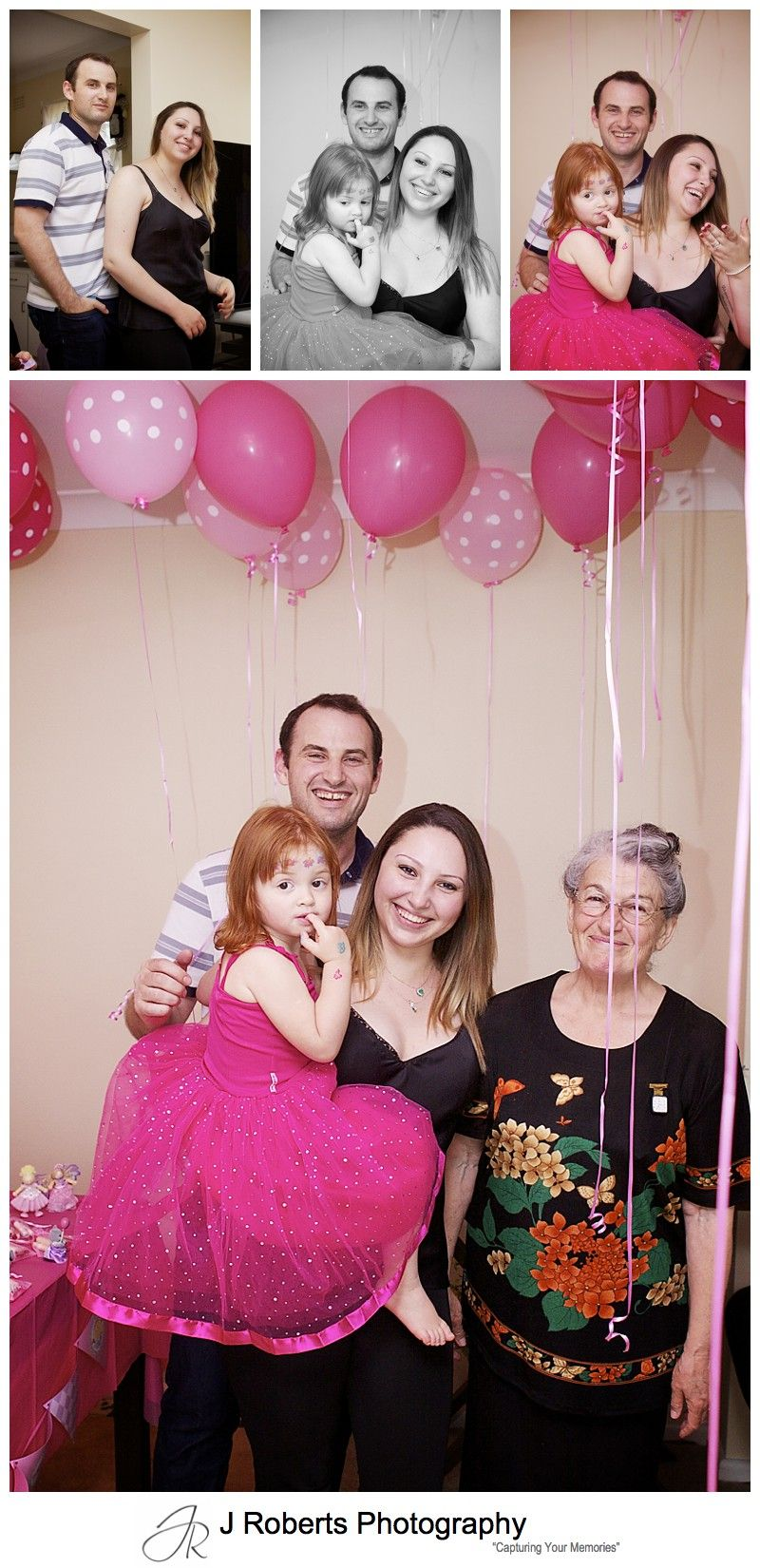 Family portraits at 3 year old girls birthday party - sydney party photography