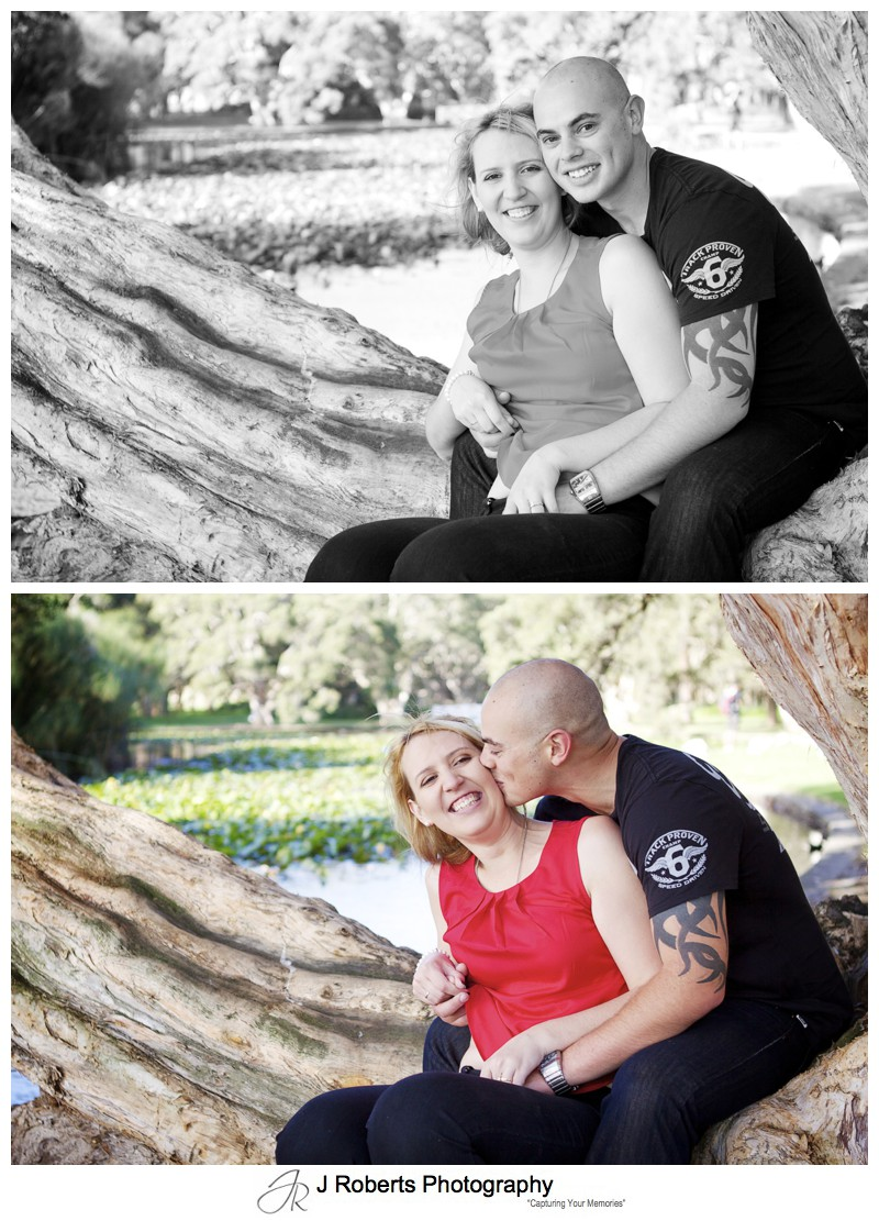 Couple portrait in b&w at Centennial Park Sydney - Couples Portrait Photography Sydney