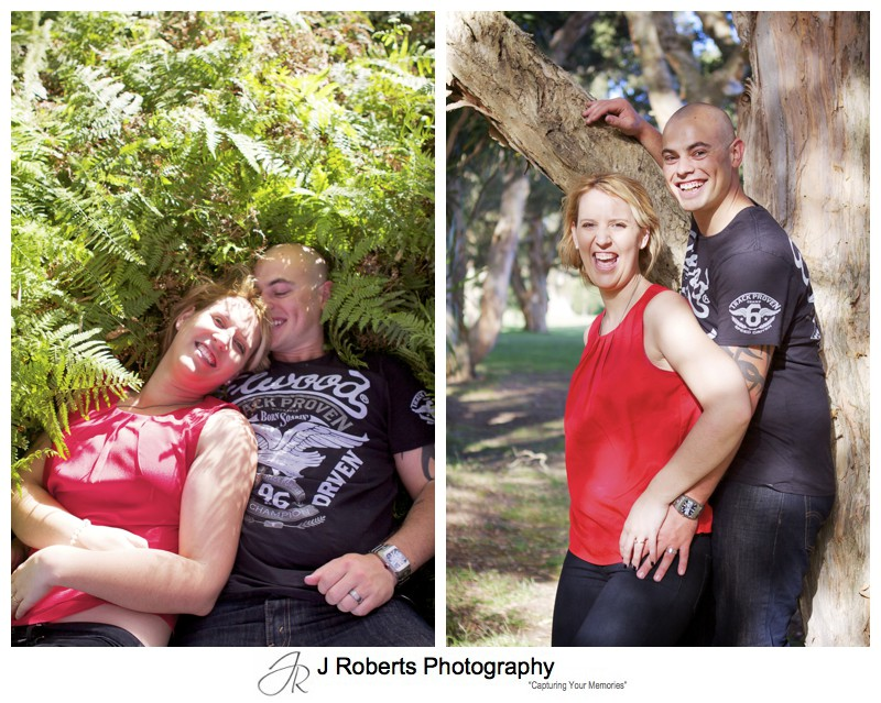 couple laying in grass and leaning on tree in centennial park - couple portrait photography - sydney