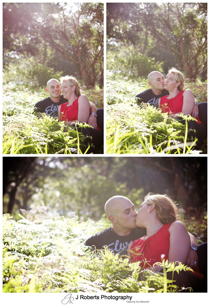 romantic couple in the bushes kissing centennial park - couple portrait photography - sydney