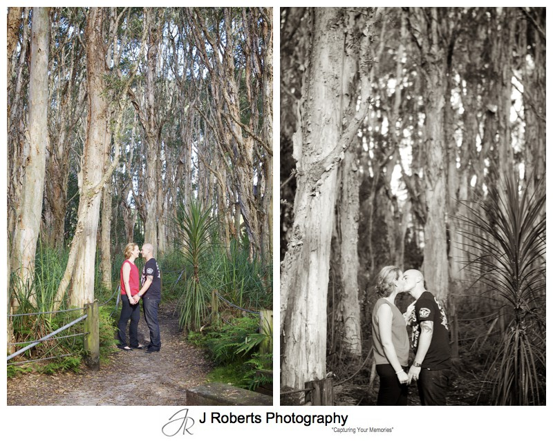 couple kissing in the trees centennial park - couple portrait photography - sydney