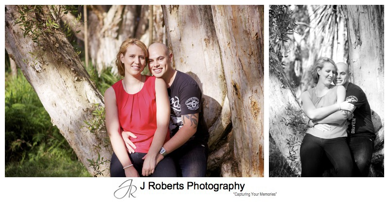 couple in trees hugging and posing centennial park - couple portrait photography - sydney