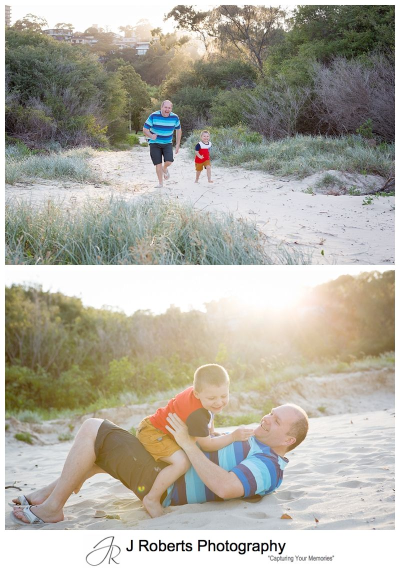 Docu style family portraits with father and son at the beach Chinamans Beach Mosman